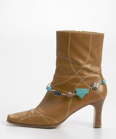 Turquoise and Silver Beaded Boot Bling - Jewelry Accent to your Boots - Would look awesome on my Ropers for my wedding!