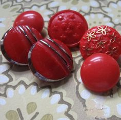 vintage red glass buttons