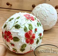 Artesanía  Laria: Bolas decoradas, con servilletas o relieve!!