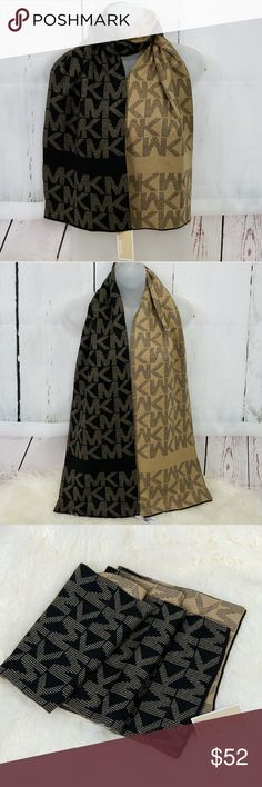 MICHAEL KORS SCARF black and tan PRICE IS FIRM  New with tags  100% AUTHENTIC MICHAEL KORS  SAME DAY SHIPPING GIFT IDEA!  NEW 2017 MICHAEL KORS SCARF with MK LOGOS COLOR: BLACK AND TAN  TONS MORE STYLES IN MY CLOSET Michael Kors Accessories Scarves & Wraps