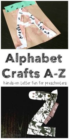 26 cute, original, and simple letter crafts; one for each letter of the alphabet! Such a fun hands-on way to introduce letters to your preschooler! Preschool Letter Crafts, Alphabet Letter Crafts, Preschool Lessons, Alphabet Activities, Letter Tracing, Class Activities, Preschool Learning, Letter Art, Early Learning