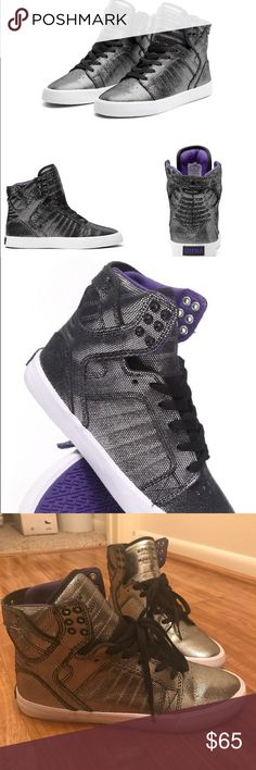 Supra Skytops-Black Suede with Reflective Print Supra High-tops-Black Suede with Silver metallic reflective print-size 9.5 *ONLY WORN ONCE* rare-sold out, crown emblem on bottom Supra Shoes Sneakers