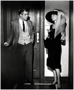 Audrey Hepburn as Holly Golightly and George Peppard as 'Fred' in 'Breakfast at Tiffany's', 1961