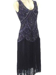 1920s Style Beaded Black Fringe - This dress would be fun at the Roaring 20's New Year's Eve party.
