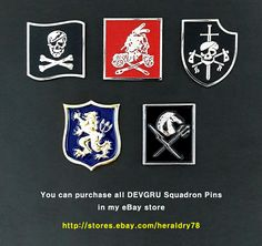 U.S. Navy SEAL Team Six 6 Naval Special Warfare Development Group NSWDG DEVGRU Blue, Red, Silver, Gold, Black Squadron Insignia Metal Badge Pins