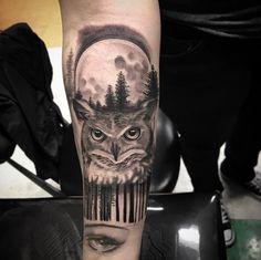 Owl tattoo by Isaiah Negrete