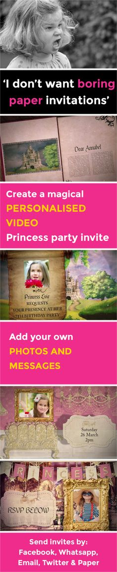 Create a magical VIDEO party invitation - www.poshtiger.co Online Birthday Invitations, Party Invitations Kids, Invitation Paper, Invites, Princess Party, Rsvp, Messages, Create, Texting