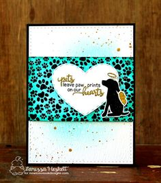Pets leave Pawprints on our hearts card by Larissa Heskett | Furr-ever Friends | Dog and Cat Sympathy Stamp Set by Newton's Nook Designs #newtonsnook
