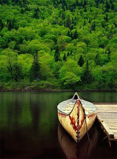 "Another Pinner said -We took a canoe trip this summer in Mo. I love the scenery in this photo, along with the ""native"" canoe. Peaceful and Beautiful! Summer in Maine. Lago Mcdonald, Oh The Places You'll Go, Places To Travel, Beautiful World, Beautiful Places, Amazing Places, Stunningly Beautiful, Absolutely Stunning, Camping Nature"