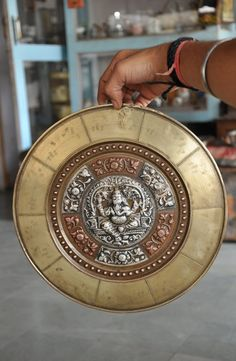 Old Brass , Silver & Copper Handcrafted Lord Ganesha Embossed Wall Hanging Plate
