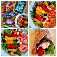 #FoodforLife Ezekiel 4:9 sprouted grain tortilla with roasted peppers that I prepared last night, 2 TBSP homemade garlic hummus, 10 pre-cooked frozen shrimp that I and a handful of organic spring salad wrapped up like a burrito. #burrito #cindodemayo #fit #healthy #healthyrecipes #fithealthyrecipes #ezekielbread #roastedpeppers #2momsinthekitchen