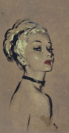 David Wright (1912-1967, British), ca. 1940's, Woman with choker, Ink & gouache on brown board.