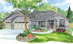 House Plan 59714 | Contemporary Craftsman Ranch Traditional Plan with 2489 Sq. Ft., 3 Bedrooms, 3 Bathrooms, 3 Car Garag