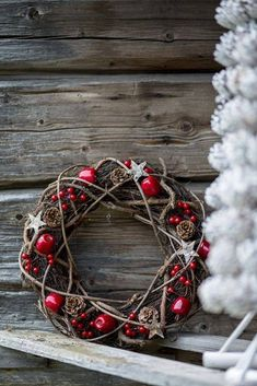 Country Christmas Wreath - something to try with grapevine minus the apples