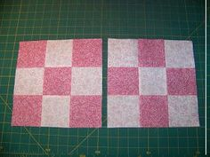 2 for 1 nine patch blocks - from 2 squares