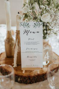 Spring menus: 35 ideas for pretty wedding tables! Wedding Table Planner, Wedding Table Numbers, Wedding Menu, Diy Wedding, Wedding Tables, Wedding Foods, Card Wedding, Wedding Catering, Rustic Wedding