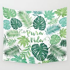 Tropical Pura Vida Palm Leaves and Monstera Watercolor Wall Tapestry