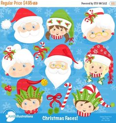 80%OFF Christmas faces clipart, Christmas Santa clipart, Christmas elf clipart, commercial use, digital clipart, instant download AMB-191