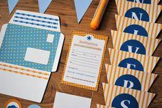 Enveloppe banderole invitations anniversaire enfants