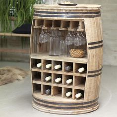 Wine Bottle Rack Wood Oil Finish Floor Shelf Storage Glasses Kitchen Cellar Big