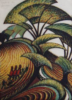 """""""Fall of the Leaf"""" 26/60, Sybil Andrews lino-cut prints (14.25x10 in) 1934 at Mayberry Fine Art"""
