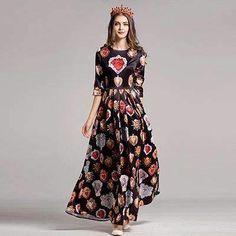 2017 New Autumn Diamonds Print Maxi Dress High Quality Half Sleeve O_neck Big Swing Pretty Women Long Dress