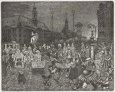 """Hans Körnig zeigt den """"Dresdner Carneval"""" auf der Hauptstraße, entstanden ist die Radierung 1977. http://www.dresden.de/veranstaltungen-tourismus/snm_vkal_frontend/events/detail/22236 Reproduktion: Olaf Börner/ Museum Körnigreich"""