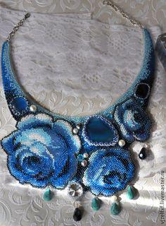 """Колье, бусы ручной работы. Колье """"Blue roses"""". Tatyana Petrina. Интернет-магазин Ярмарка Мастеров. Авторская работа, синий"""