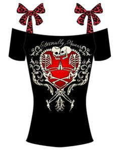 ANNABEL BOW TOP - RED LEOPARD - ETERNAL TooFast Clothing Punk Rock Gothic Girls Tops Tees