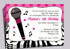Karaoke Party Invitation Printable - Sing, Microphone, Rock Star, Dance Party