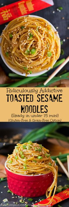 These Toasted Sesame Noodles are a flavor explosion of nutty, buttery, rich goodness! And they are so very, very addictive! The toasted sesame seeds are the highlight of this dish with a rich nutty flavor, and the noodles are saturated with a light flavorful sauce making an amazing flavor combination. Best of all the dish is crazy simple and quick to make. It just takes a few simple ingredients and 15 minutes or less! There is a recipe adaptation for every diet including traditional…