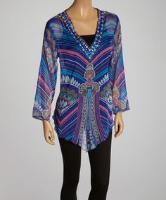 Royal Blue Paisley Stripe Embellished V-Neck Tunic by Lebaz #zulily #zulilyfinds