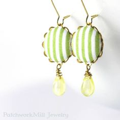 http://ift.tt/1OtHE6T Dangle Earrings - Spring Stripes I love these amazing Czech glass beads! #earrings #jewelry #spring #green