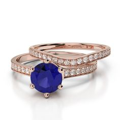 Gold / Platinum Round cut Tanzanite and Diamond Bridal Set Ring Bridal Ring Sets, Gold Platinum, Sapphire, Rose Gold, Engagement Rings, Diamond, Jewelry, Enagement Rings, Wedding Rings