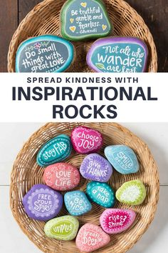 Spread kindness to others in the world by creating inspirational rocks! Give to friends and family or leave for others! Spread kindness to others in the world by creating inspirational rocks! Give to friends and family or leave for others! Rock Painting Patterns, Rock Painting Ideas Easy, Rock Painting Designs, Pebble Painting, Pebble Art, Stone Painting, Stone Crafts, Rock Crafts, Diy Crafts