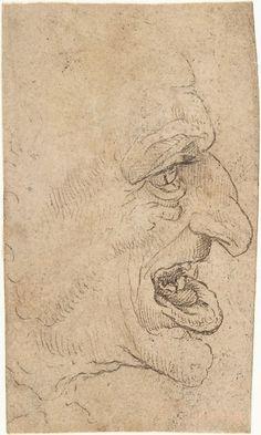 The Head of a Grotesque Man in Profile Facing Right - copy after Leonardo da Vinci