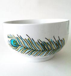 lovely feathered eye bowl - ETSY