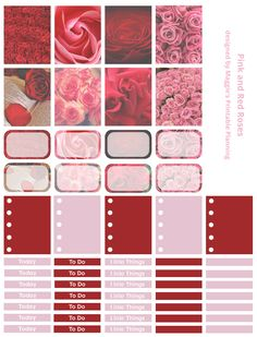 Maggie's Printable Planning is creating Printable Planner Stickers | Patreon Pink and Red Roses