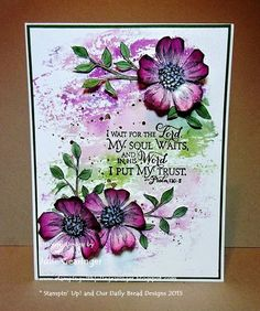 "Stamping with Julie Gearinger: CAS Floral Watercolor Wash; Stampin' Up! ""Watercolor Wash"", ""Flower Shop"", ""Gorgeous Grunge"", ""Choose Happiness"" and Our Daily Bread Designs ""Scripture Collection 9"" using the CC555 Color Challenge :-)"