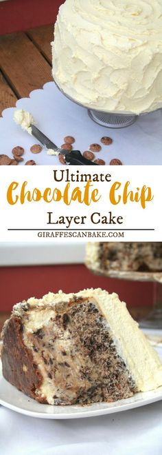 Are you looking for a dessert that is made with both cream cheese and mascarpone ? Chocolate Chip Layer Cake is a cookie crust with a cookie dough cheesecake – that's right, delicious cheesecake for that added creamy sweetness with eggless cookie dough! #food #dessert #chocolatecake #chocolatecakerecipe