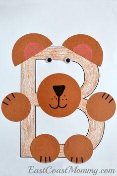 East Coast Mommy: Alphabet Crafts - Letter B Bear Crafts Preschool, Abc Crafts, Preschool Letters, Kindergarten Crafts, Daycare Crafts, Animal Crafts, Preschool Activities, Letter B Activities, Alphabet Letter Crafts
