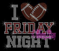 I Love Friday Night - RED - Football Heart - Iron on Rhinestone Transfer Bling Hot Fix Sports School Mom - DIY on Etsy, $9.99