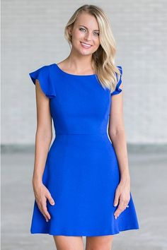 Royal blue ruffled A-line dress, cute royal blue party dress