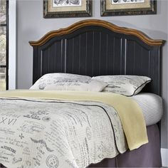 Home Styles French Countryside Panel Headboard in Oak and Black - 5519-X01