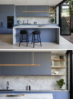A Dusty Blue Kitchen Sets The Tone In This House Renovation Kitchen Ideas - Blue-grey cabinets have been combined with marble, to create a modern and eye-catching kitchen. Kitchen Room Design, Kitchen Sets, Modern Kitchen Design, Home Decor Kitchen, Interior Design Kitchen, New Kitchen, Home Kitchens, Kitchen Designs, Blue Kitchen Ideas