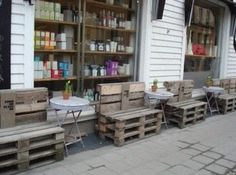 norway Pallets Street installation in Kristiansand, Norway in pallets store pallet furniture pallet outdoor project with Seat Bench Pallet Crates, Pallet Chair, Old Pallets, Recycled Pallets, Pallet Furniture, Outdoor Furniture Sets, Furniture Design, Pallet Benches, Pallet Seating
