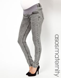 ASOS Maternity Ridley Supersoft Ultra Skinny Jeans in Grey