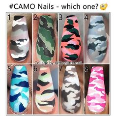 – Inspo What about a camouflage accent in your ne.- – Inspo What about a camouflage accent in your next set of nails? Which one is your favourite? – – – – Nails by: N 1 DallasJNails N 2 Jadetangtheartist N 3 – – – – – - Camo Nail Designs, Cute Acrylic Nail Designs, Best Acrylic Nails, Nail Art Designs, Nail Swag, Camo Nail Art, Diy Camo Nails, Military Nails, Tiger Nails