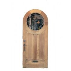 SOLD Antique Arched English Tudor Heart Pine Door, c. 1920s, Round Glass