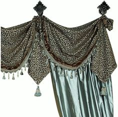 Aristocat Luxury Drapery - leopard valance, silk panels